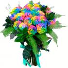 Букет из 19 радужных роз