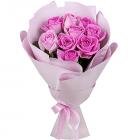 Букет из 9 розовых роз 40 см
